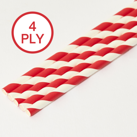 Red & White Stripe, 4 PLY Super Strength Paper Drinking Straw 8MM x 200MM