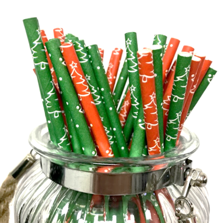 Christmas Trees selection narrow paper drinking straw 200x6mm - at home and party use