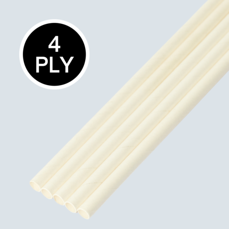 White, 4 PLY Super Strength Paper Drinking Straw 8MM x 200MM