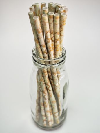 White Marble Paper Drinking Straw 200x8mm - Wholesale