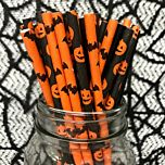 Halloween Bats and pumpkin selection narrow paper drinking straw 200x6mm - at home and party use