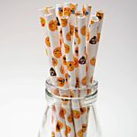 Emoji party paper straws 6x200mm - At Home and Party Use