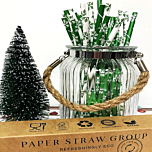 Christmas Snow Flakes selection narrow paper drinking straw 200x6mm - at home and party use
