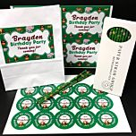 Personalised Jungle Party Pack - Pack of 15 Party Bags, Box of 38 Paper Straws