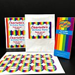 Personalised Rainbow Party Pack - Pack of 15 Party Bags, Box of 38 Paper Straws