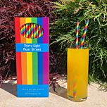 Rainbow Paper Drinking Straws - Box of 38 Eco Straws